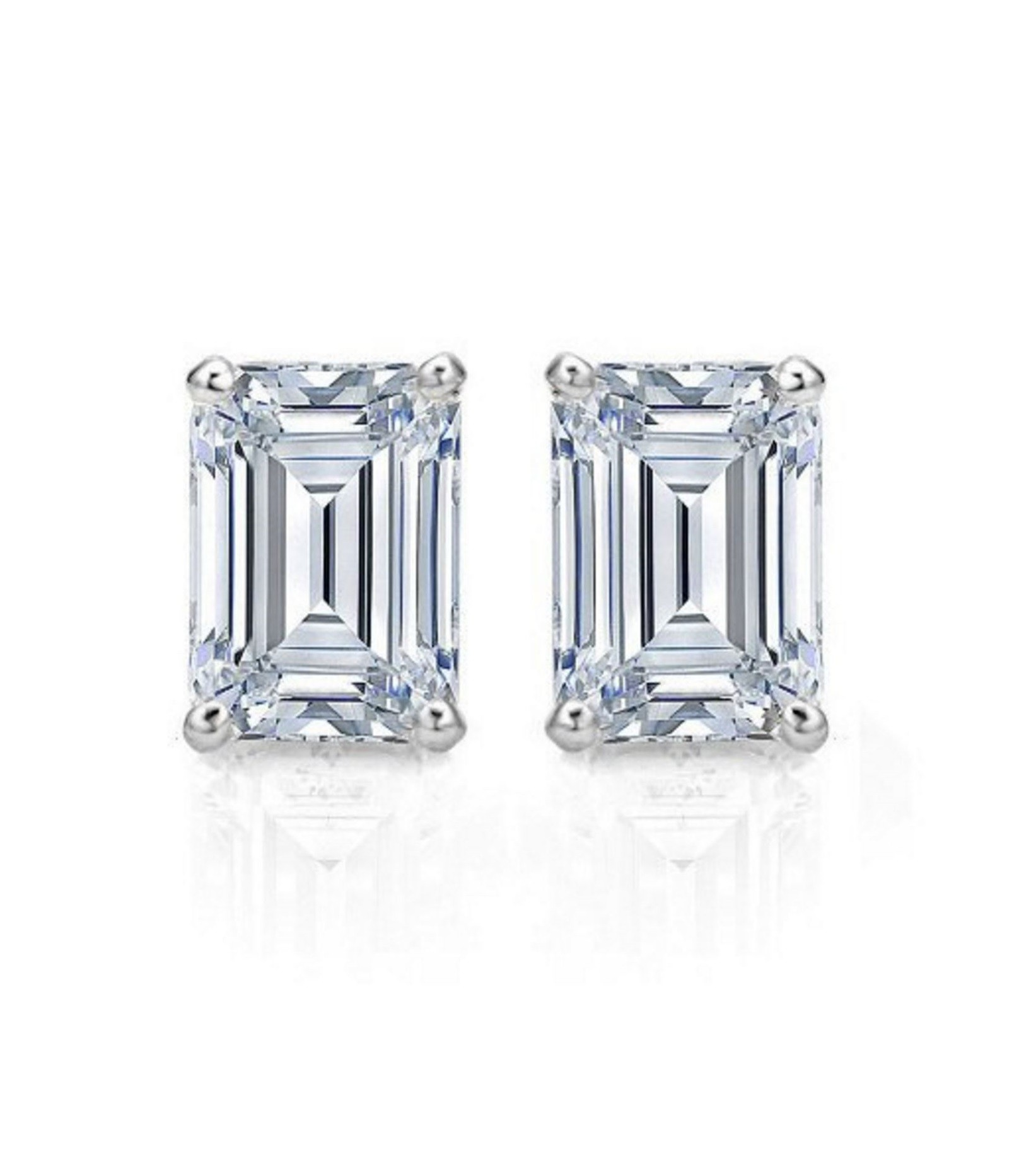 b2317cccf 1ct Emerald Cut Stud Solitaire Earrings Gift Solid 14k White Gold ...