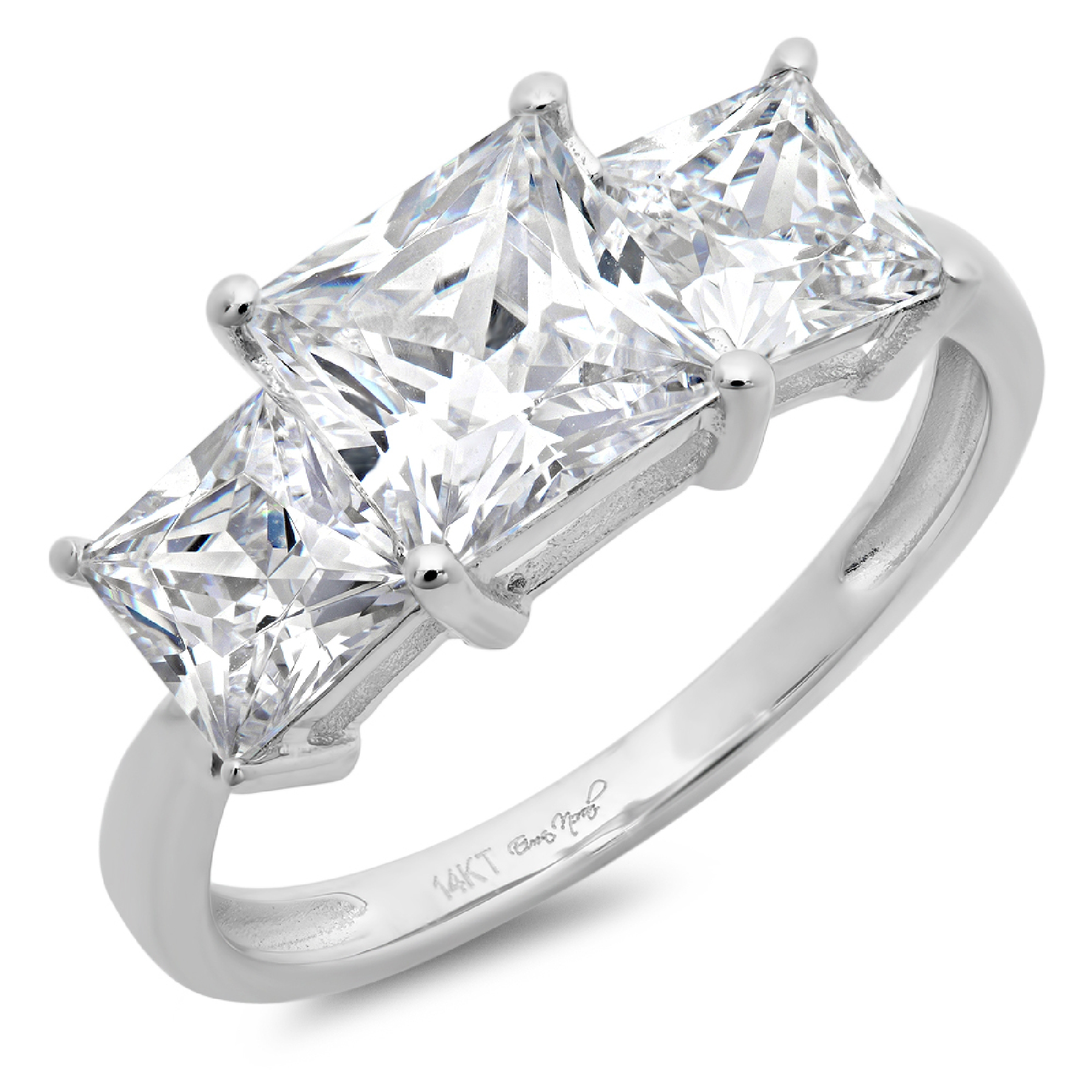 2.00 Carat 14K Solid Gold 3 Stone Solitaire Engagement Anniversary Promise Rings
