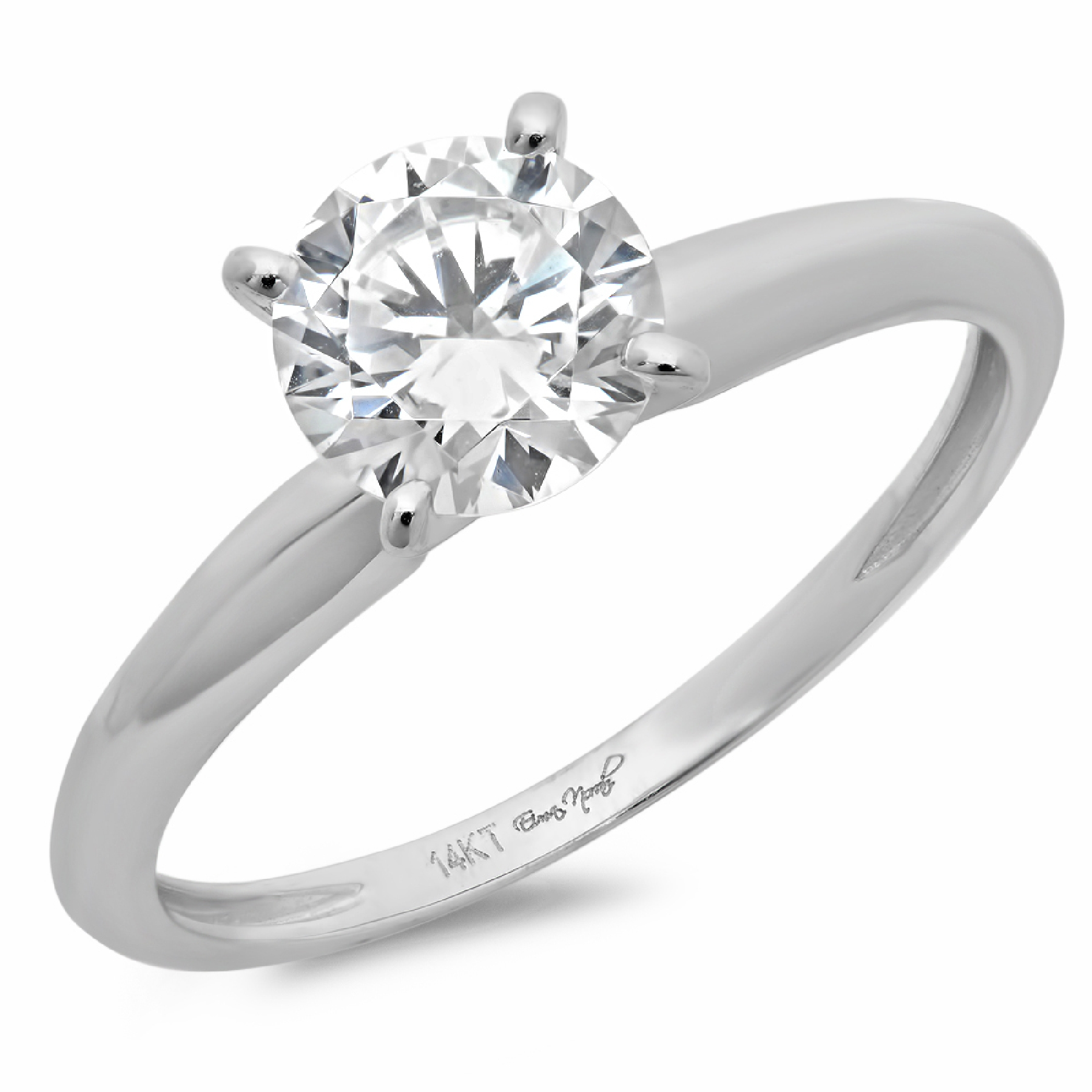 0.5 Round prong Solitaire Bridal Promise Engagement Wedding Ring 14k White gold