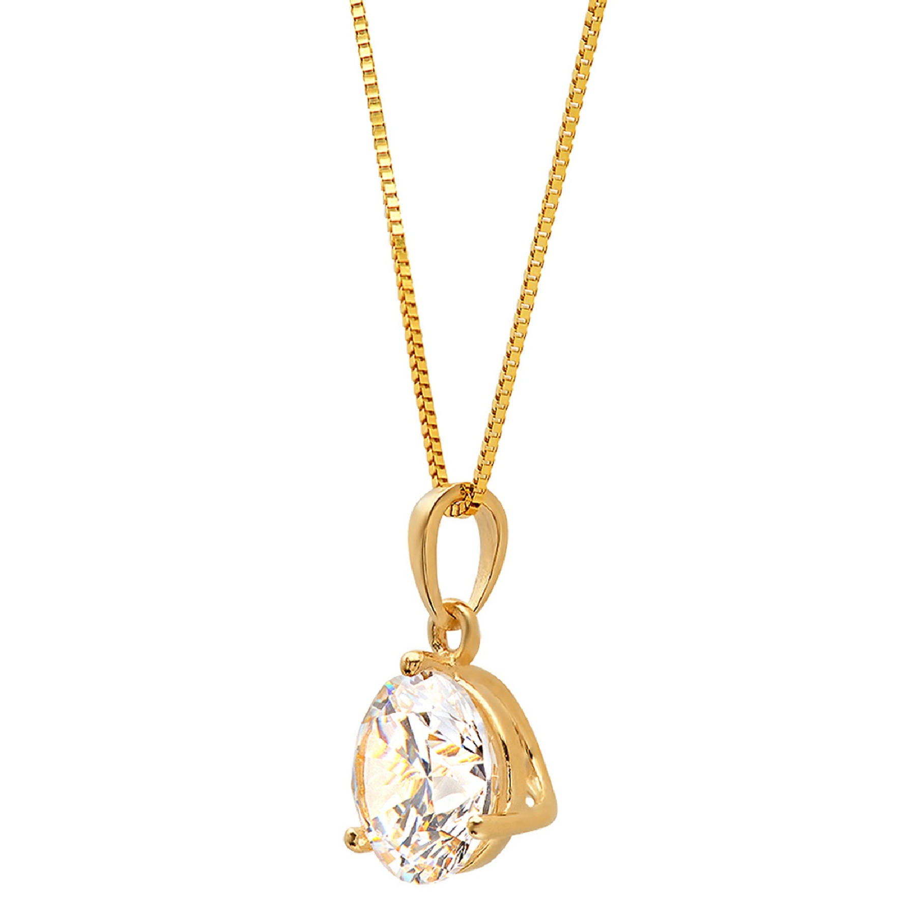 """2.91Ct Round cut Solitaire Diamond Pendant Solid 14K Yellow Gold FN 18/"""" chain"""