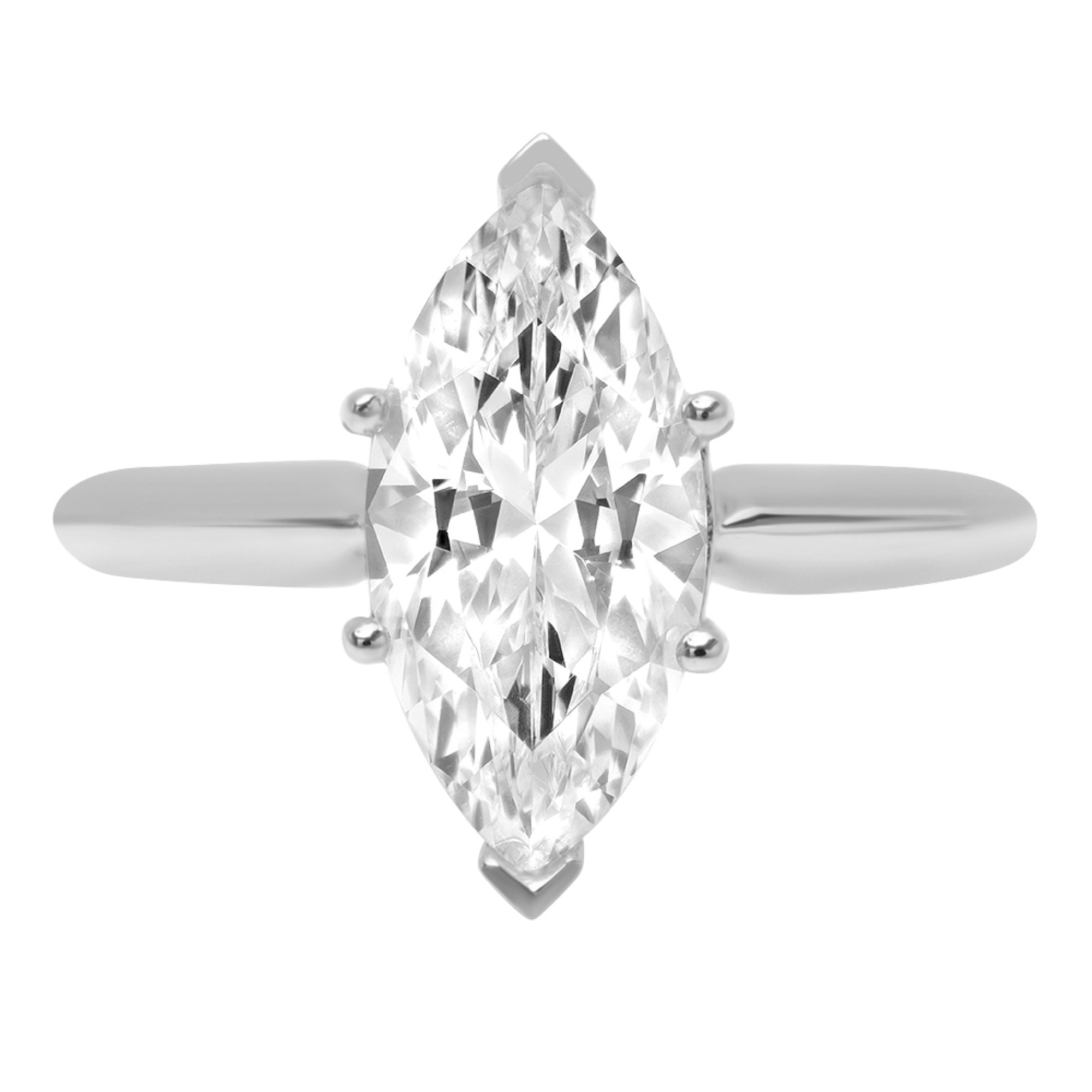 2.5 Marquise Cut Classic Solitaire Engagement Promise Ring 14k White gold