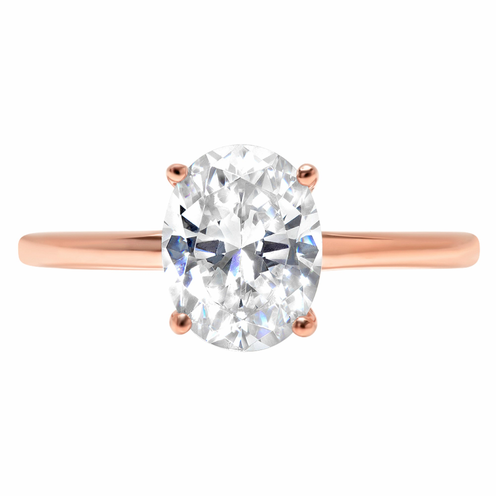 7bee44e89 2 Oval Classic Solitaire Wedding Promise Ring 14k pink gold Engagement Cut  nodihl4808-Diamond