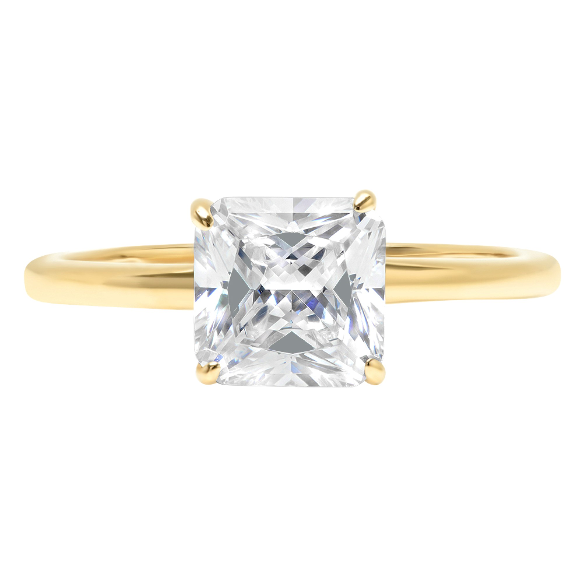 88b34cd9eb64e Details about 2.0 Asscher Cut Classic Solitaire Engagement Promise Ring 14k  Yellow Gold