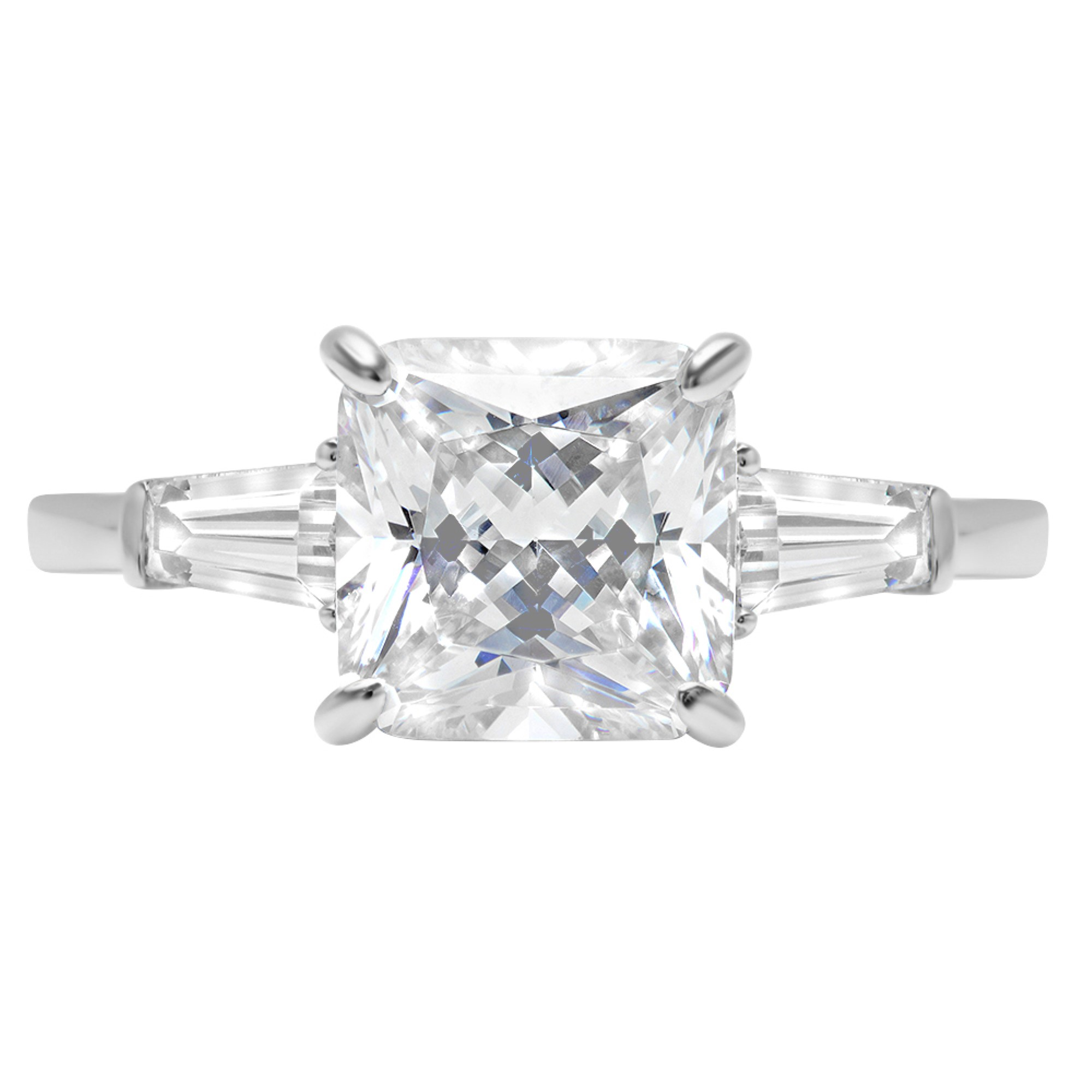 3.5 Asscher Baguette 3-Stone Statement Engagement Promise Ring 14k White gold